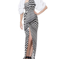 J. Mendel Cropped Fox Fur Stole and Striped Asymmetric-Fold Gown