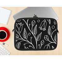 The Black and White Vector Branches Ink-Fuzed NeoPrene MacBook Laptop Sleeve