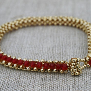red gold bracelet, golden red cuff, beaded seed bead beadwork art ruby glass bracelet, romantic bracelet for her, boho victorian bracelet