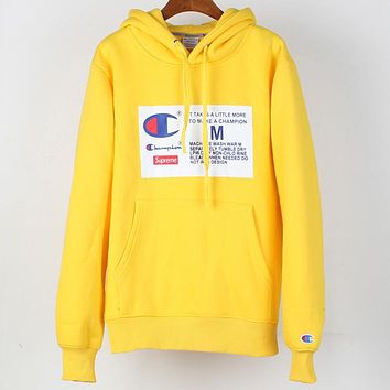 Champion x Supreme co-branded sports and leisure hooded sweater Yellow