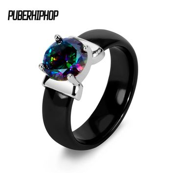 Rainbow Fire Mystic Crystal Zircon Ring White Black Innocuous Ceramic Rings Plus CZ For Women Wedding Ring Engagement Jewelry