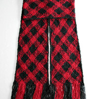 Red and Black Scarf, Extra Long, Handwoven Red and Black Plaid Scarf, Men or Women Winter Scarf