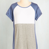 Colorblocking Mid-length Short Sleeves Colorblock the Line Top