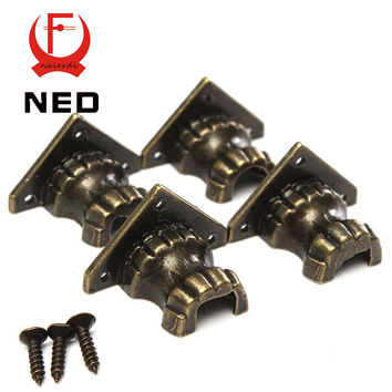 NED 8pcs Antique Brass Jewelry Chest Wood Box Decorative Feet Leg Corner Protector For Furniture Cabinet Protect Hardware