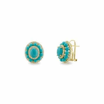 Collins Ave Turquoise & CZ Omega Clip Earrings in Gold Plated Silver by Fronay Co.