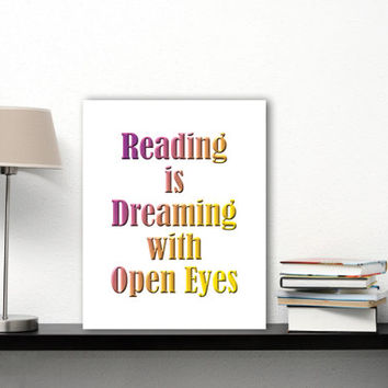 Reading Poster Office Decor, Typography Printable Library Decor, Book Lover Gift Library Art, Reading Quotes, Reading Art, Reading Print