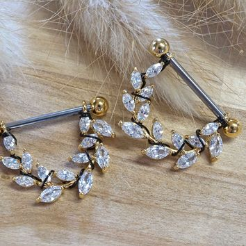 Crystal Leaf Gold Nipple Shield Barbell Jewelry Barbell
