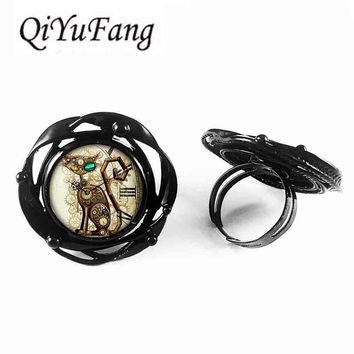 sugar skull US Movie Mechanical Clock Cat flower big ring steampunk Jewelry Gift women mens flower big ring toy