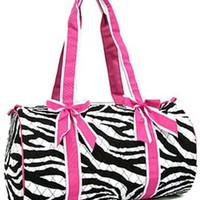 Quilted Zebra Print Girls Dance Cheer Carry On Duffel Travel Bag (Fuchsia Pink Trim)