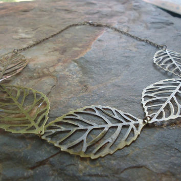 BRONZE FILIGREE LEAFS delicate necklace 352