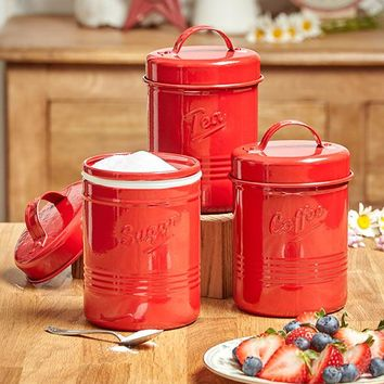 Canister Set of 3 Metal Vintage Silicone Seal Embossed Tea Sugar Coffee Red Blue or White