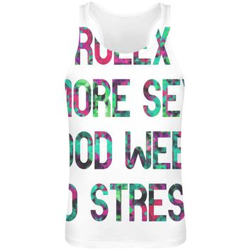 Rolex More S*x Good Weed No Stress  Sublimation Tank Top T-Shirt For Men - 100% Soft Polyester - All-Over Printing - Custom Printed Mens Clothing