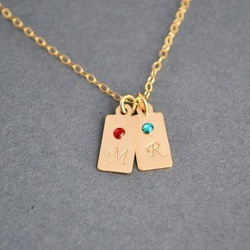 Gold Initial Charm Necklace, Tag Necklace, Custom Initial Bar Necklace, 2 Initial Tag with Birthstone