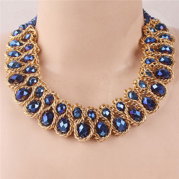 New Brand Vintage Statement Necklaces Fashion Jewelry Gold Plated Thick  Tassels Choker Necklaces For Women