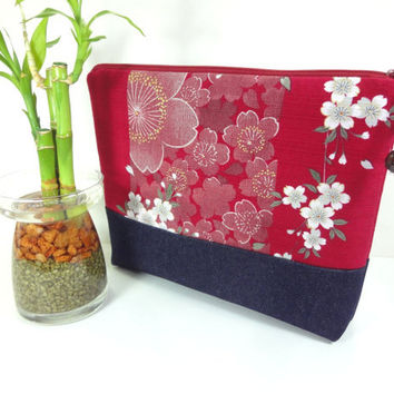 Gift For Her, Large Cosmetic Pouch, Kimono Cotton Pouch, Handmade Make-up Bag Japanese Kimono Cotton Fabric Cherry Blossoms Antique Red