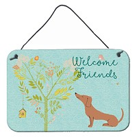 Welcome Friends Red Dachshund Wall or Door Hanging Prints BB7631DS812