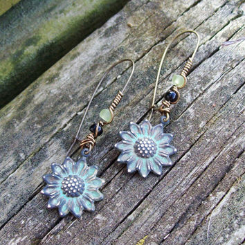 Verdigris Patina Charming Sunflower Dangle Earrings with Beaded Kidney Earwires