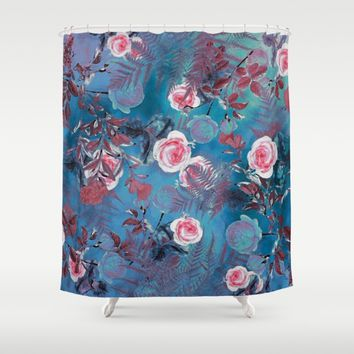 flowers blue Shower Curtain by jbjart