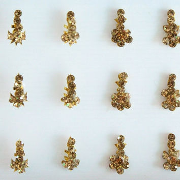 34 Gold Wedding Long Face jewels Bindis,Bridal Bindis Stickers,Stone Bindis,Indian Gold Bindis,Antique Gold Bindis,Self Nail Art  Sticker