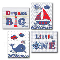 Nautical nursery wall art dream big little one quote baby boy room decor sailing artwork kids poster new baby gift sail boat anchor whale