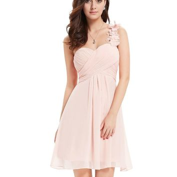 EverPretty One Shoulder Flowers Padded Hot sale Bridesmaid Dress