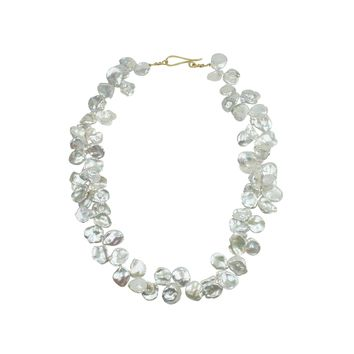 White Keshi Pearl Necklace Yellow Clasp