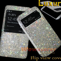 bling white crystal Smart Wake View flip fold folio leather case cover for Samsung galaxy note 3 N9000 s4 i9500 mega 6.3 i9200 c2