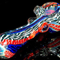 Colorful Dichroic Glass Spoon Pipe - White Black ad Red Blue Inside Out Designs Fumed with Silver and Clear Marbles