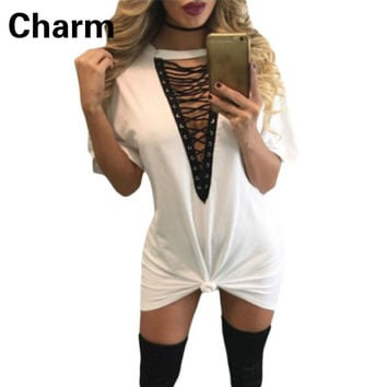 Women Dresses Fashion Hot Pop Short sleeve Hollow Out Deep V collar Sexy & Club Women Mini Dress Vestidos