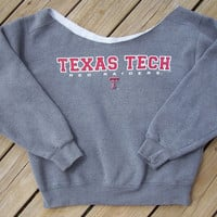 Off The Shoulder Texas Tech Sweatshirt Size Small by DenimAndStuds