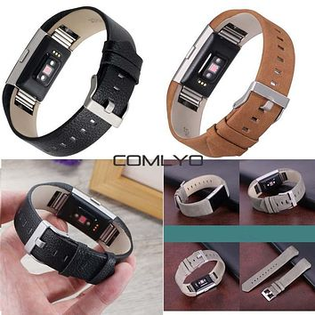 Top! COMLYO Genuine Leather Watchband For Fitbit Charge 2 Band Replace Smart Bracelet Strap Charge2 with Stainless Steel Buckle