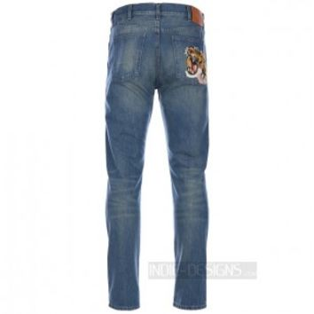 Indie Designs Embroidered Tiger Patch Straight Raw Jeans