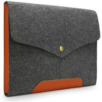 "Lavievert Gray Felt Case Leather Bottom Bag Sleeve for Apple 13"" Macbook Pro / 13"" Macbook Pro with Retina / 13"" Macbook Air and Most Popular 13-13.3 Inch Laptop / Notebook Computer / Ultrabooks"