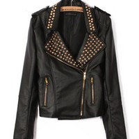 Black Rivet Notched Collar Fall Faux Leather Jacket