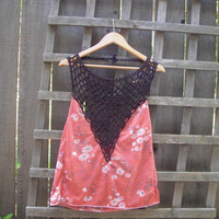 Sexy Eco Halter Top/ Backless Shirt/ Summer Festival Tops Gear Beach Cover Up Upcycled L/XL