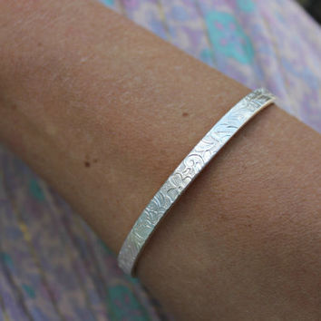 Sterling silver cuff bracelet, patterned bracelet, silver cuff, floral bangle