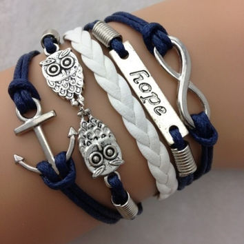Infinity bracelet Antique Charm colorful leather hope owls anchor romantic Bracelet = 1932004740