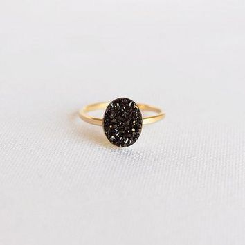 14k Gold Filled Black Oval Druzy Ring   (thin Band Black Druzy 14k Gold Filled Ring)