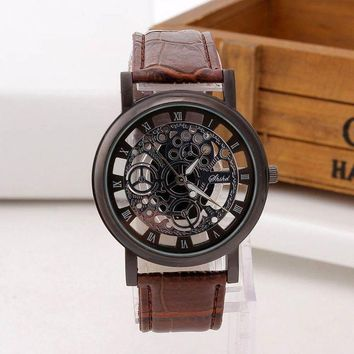 DCCK8JO 1 Pcs Men Luxury Hollow Engraving Skeleton Dial Watch for Fashion Men Creative Gift