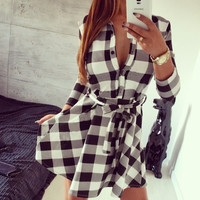 2015  Explosions Leisure Vintage Dresses Autumn Fall Women Plaid Check Print Spring Casual Shirt Dress