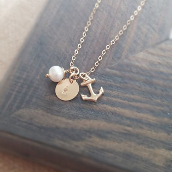 Personalized Jewelry // Gold Anchor Necklace with Hand Stamped Initial Disc and Freshwater Pearl