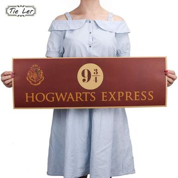 TIE LER 9 3/4 (nine and three quarters) Platform Harry Potter Movie Vintage Paper Decoration Poster Wall Stickers 72x24cm