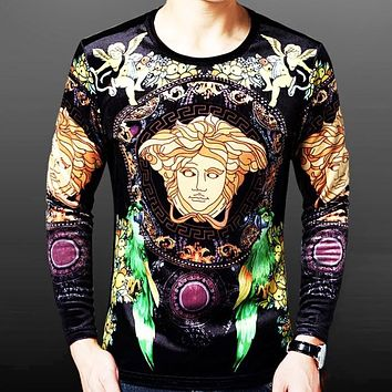 Versace Autumn And Winter New Fashion Human Head Print Men Long Sleeve Top Sweater