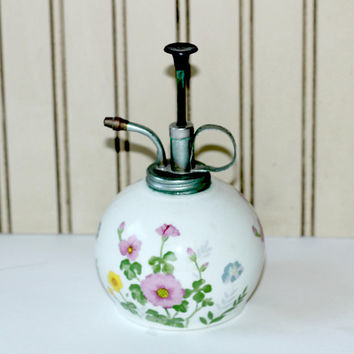 Vintage Plant Mister with Floral Well & Hand Pump | Porcelain Fern Mister | Flower Sprayer | Made in Japan | Plant Atomizer | Water Mister