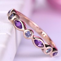 Marquise Sapphire Alexandrite Wedding Band Half Eternity Anniversary Ring 14K Rose Gold