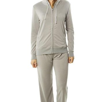 Heather Grey French Terry Hoodie Jacket and Pant Set