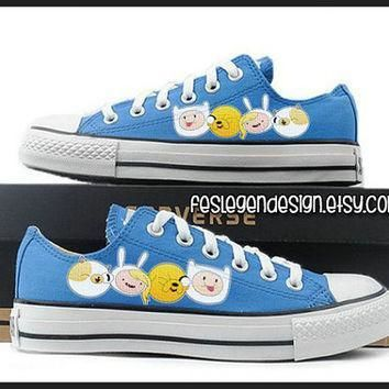 fionna and cake and finn and jake painted shoes custom converse adventure time