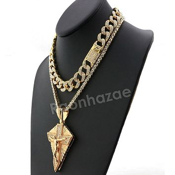 Hip Hop Quavo Diamond Shaped Crucifix Miami Cuban Choker Chain Necklace L52