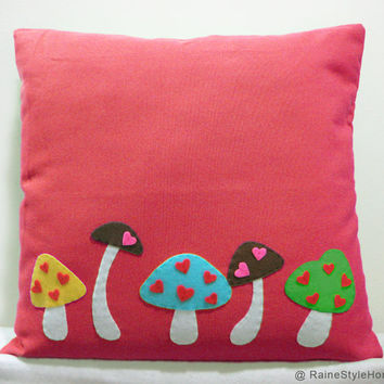 Love Mushrooms Farm Red Pillow Cover. Woodland Nursery Decor. Baby Shower Gift. Children Room Cushion Cover