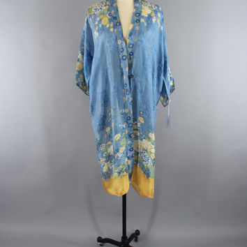 SALE - Vintage 1920s Silk Kimono Robe / 1930s Dressing Gown / 20s Art Deco Lingerie / 30s Boudoir Wrapper / Sky Blue and Yellow Floral Print